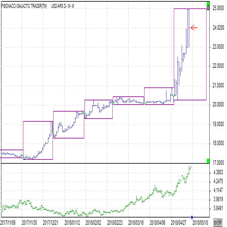 アルゼンチンペソ(上)トルコリラ(下)対ドル日足